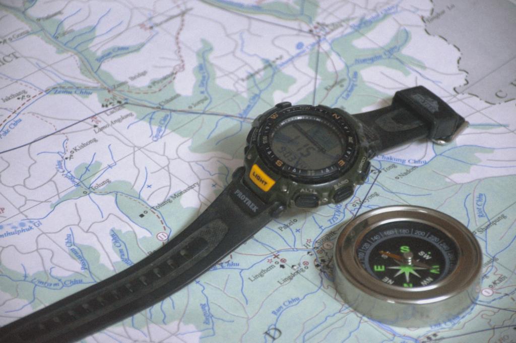 digital compass in wristwatches